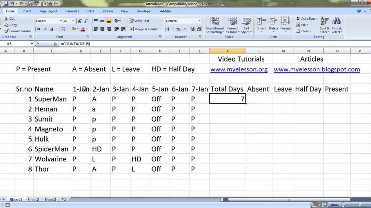 how to maintain attendance in ms excel english