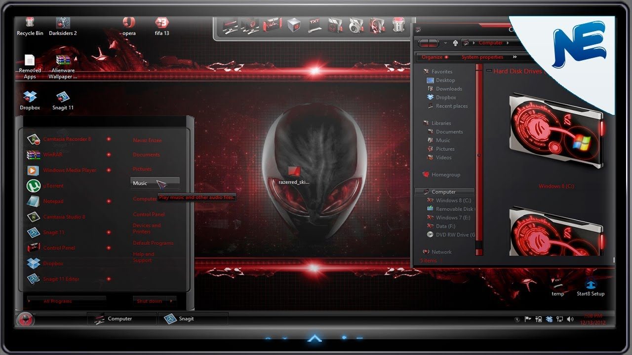 Windows 8 Theme - Transform Windows 8 to Alienware Red