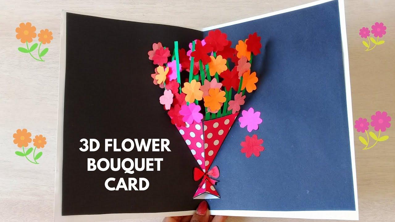 DIY Flower Bouquet Pop Up Card - Paper Crafts
