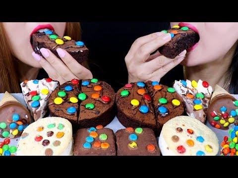 ASMR M&MS ICE CREAM, CHOCOLATE CAKE, CHOCOLATE PIE, BROWNIES 리얼사운드 먹방 | Kim&Liz ASMR