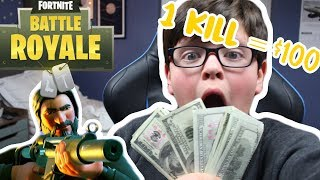 I Gave My DAD $100 For Every Kill In Fortnite!!! (I'm Broke!)