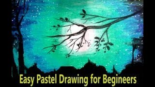 MOONLIGHT LANDSCAPE DRAWING WITH PASTEL COLOR/BEGINNERS PASTEL DRAWING/EASY PASTEL DRAWING
