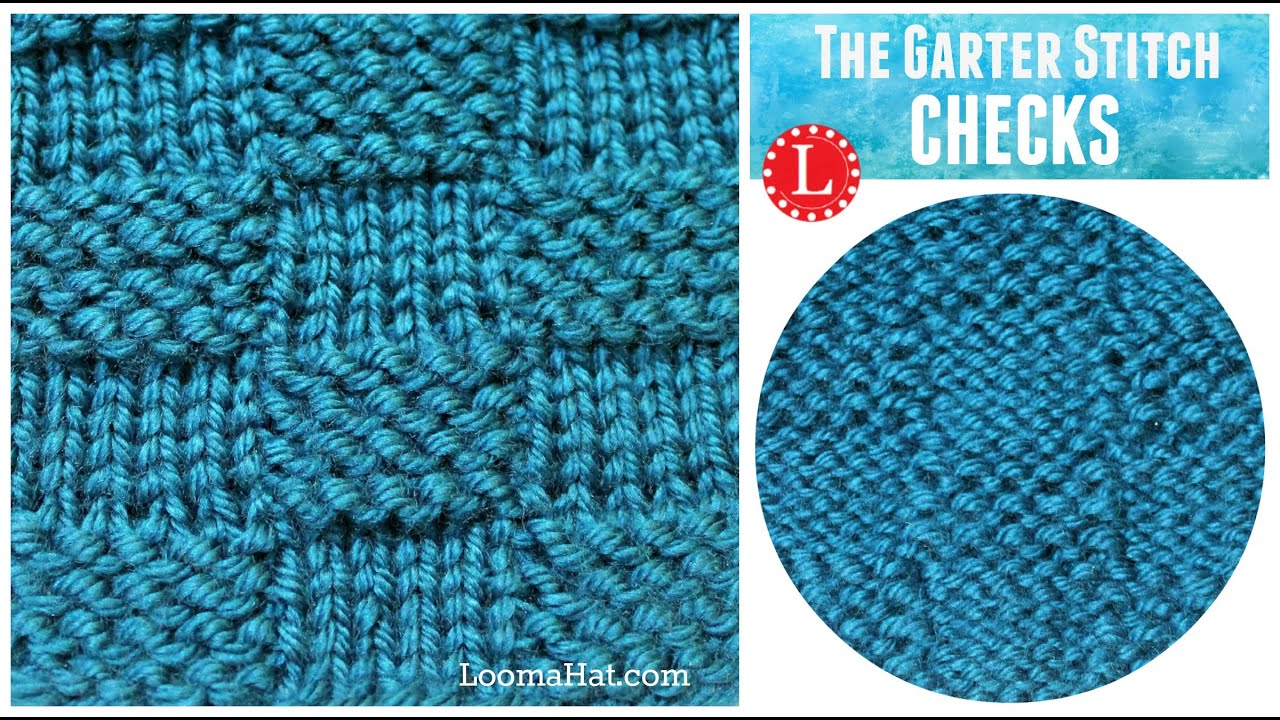 LOOM KNITTING STITCH Garter Stitch Checks version of the Basketweave - YouTube