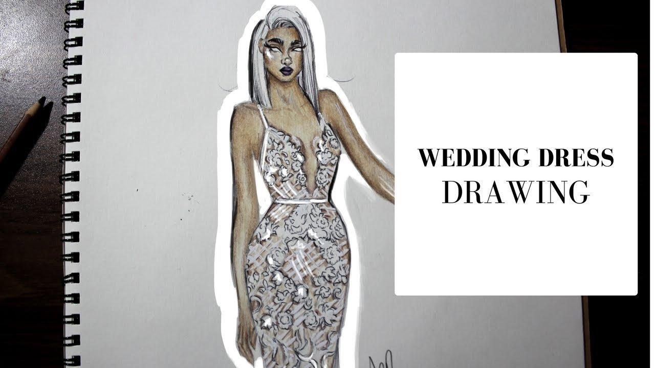 Wedding Dress Drawing Berta Bridal Fashion Illustration Youtube