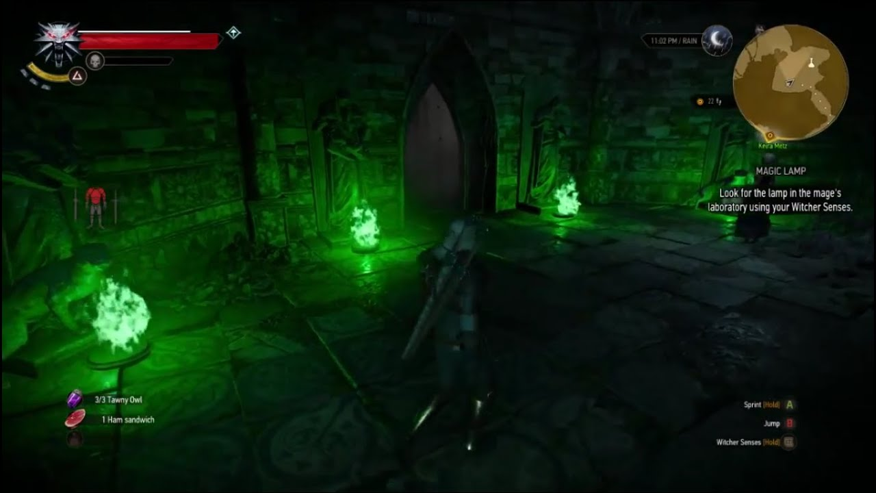 The Witcher 3 Wild Hunt Magic Lamp Four Statues Golem Light The Braziers Youtube
