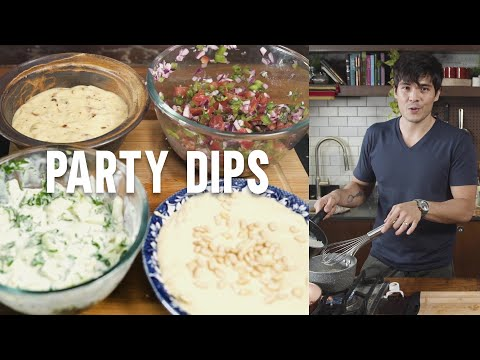 FOUR EASY DIPS  (Salsa, Tzatziki, Cheese And Bacon, Hummus)