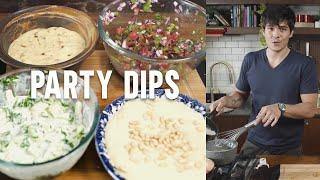 FOUR EASY DIPS  (Salsa, Tzatziki, Cheese and Bacon, Hummus)