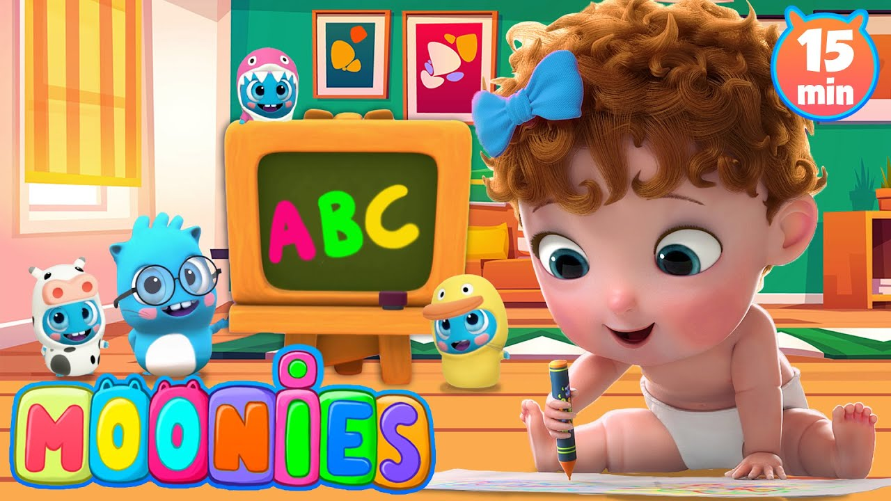 🤓✏ ABC  Canciones infantiles en Español   Aprende el Abecedario con Los Moonies