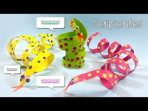 Manualidades con tubos de papel   Serpientes de cartón