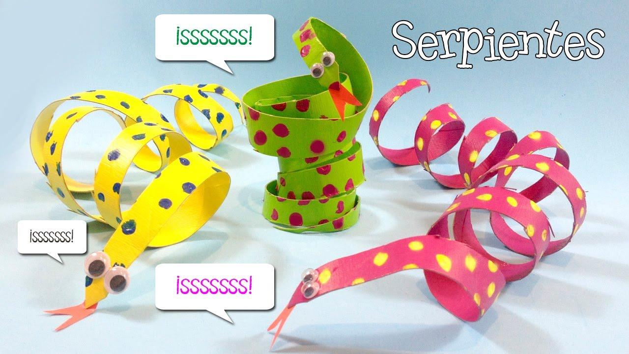Manualidades con tubos de papel | Serpientes de cartón - YouTube