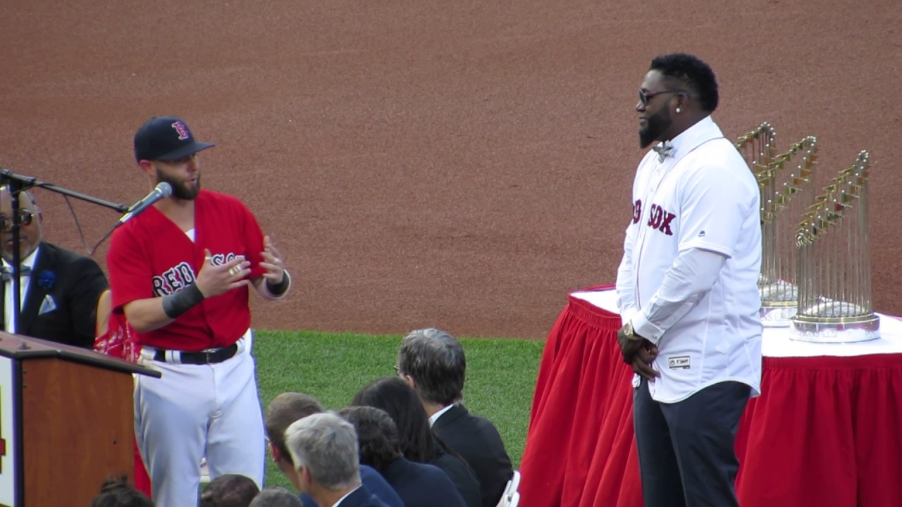 Dustin Pedroia gives speech at David Ortiz jersey retirement ceremony 6/23/17