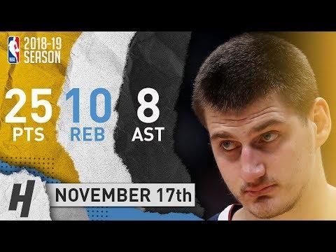 Nikola Jokic Full Highlights Nuggets vs Pelicans 2018.11.17 - 25 Pts, 8 Ast, 10 Rebounds!