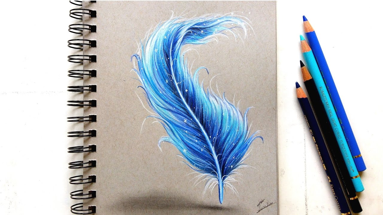 Colored pencil drawing fantasy feather leontine van vliet