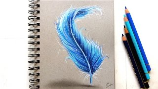 Colored pencil drawing - Fantasy feather! | Leontine van vliet