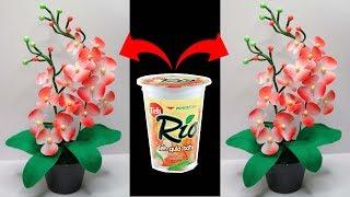 Ide kreatif Bunga anggrek dari gelas plastik | Cara membuat bunga anggrek | Plastic Glass Ideas