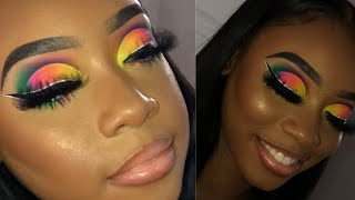 HOW TO BLEND NEON SHADOWS | RAINBOW EYES | DETAILED TUTORIAL