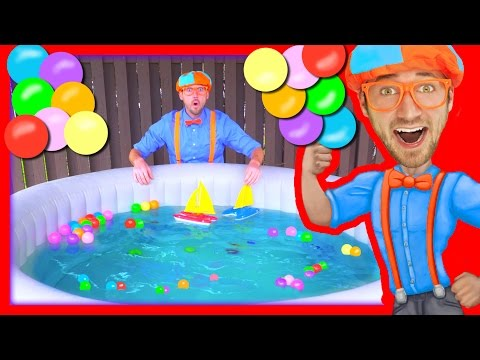 Boats For Kids With Blippi | Learn Colors In The Hot Tub