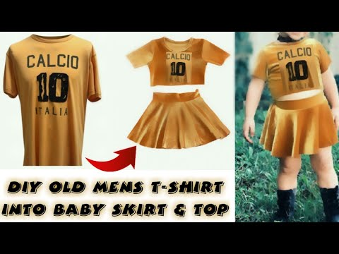 1a7bfebf3d1 DIY Men s T-Shirt Into Baby Top   skirt In 5mins