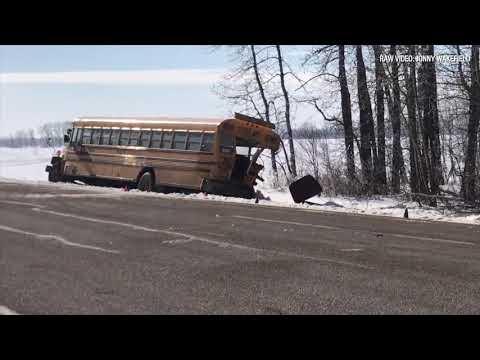 Teen girl dead after school bus, semi truck collide northeast of Edmonton