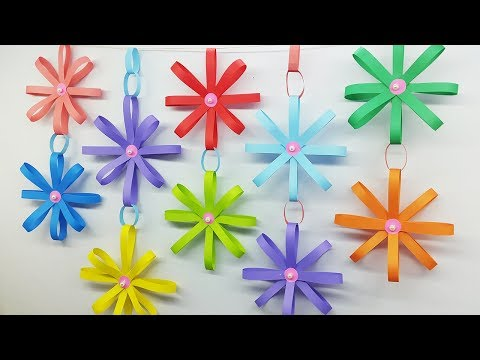 How to Make Paper Wall Hanging Flowers Home Decor - DIY Wall Decoration Ideas
