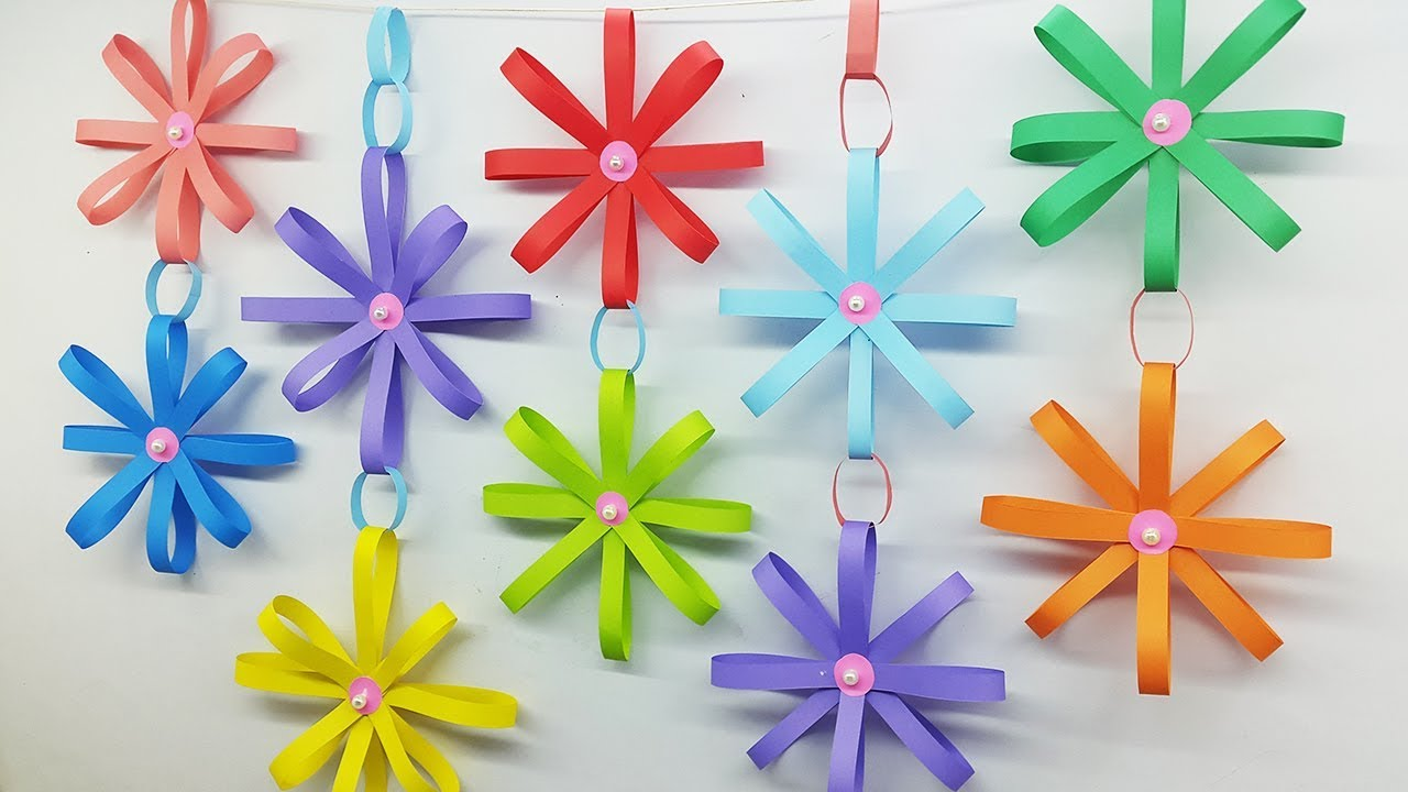 How to Make Paper Wall Hanging Flowers Home Decor - DIY ... on Hanging Wall Sconces For Flowers id=84589