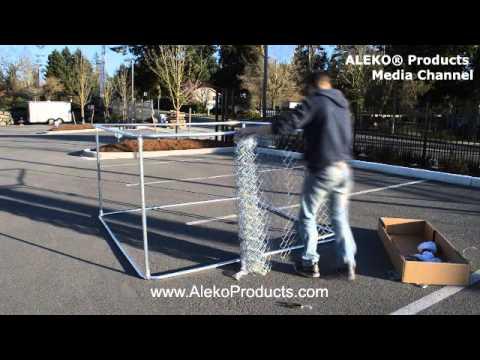 ALEKO® Dog Kennel 7 1/2' x 7 1/2' x 4' DIY Box Kennel Chain Link Dog Pet System