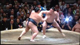 Ozeki Kisenosato (10-1) tries to stay on top of the leaderboard by ...