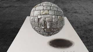 How to Draw a Realistic Stone Ball - 3D Levitating Sphere - VamosART