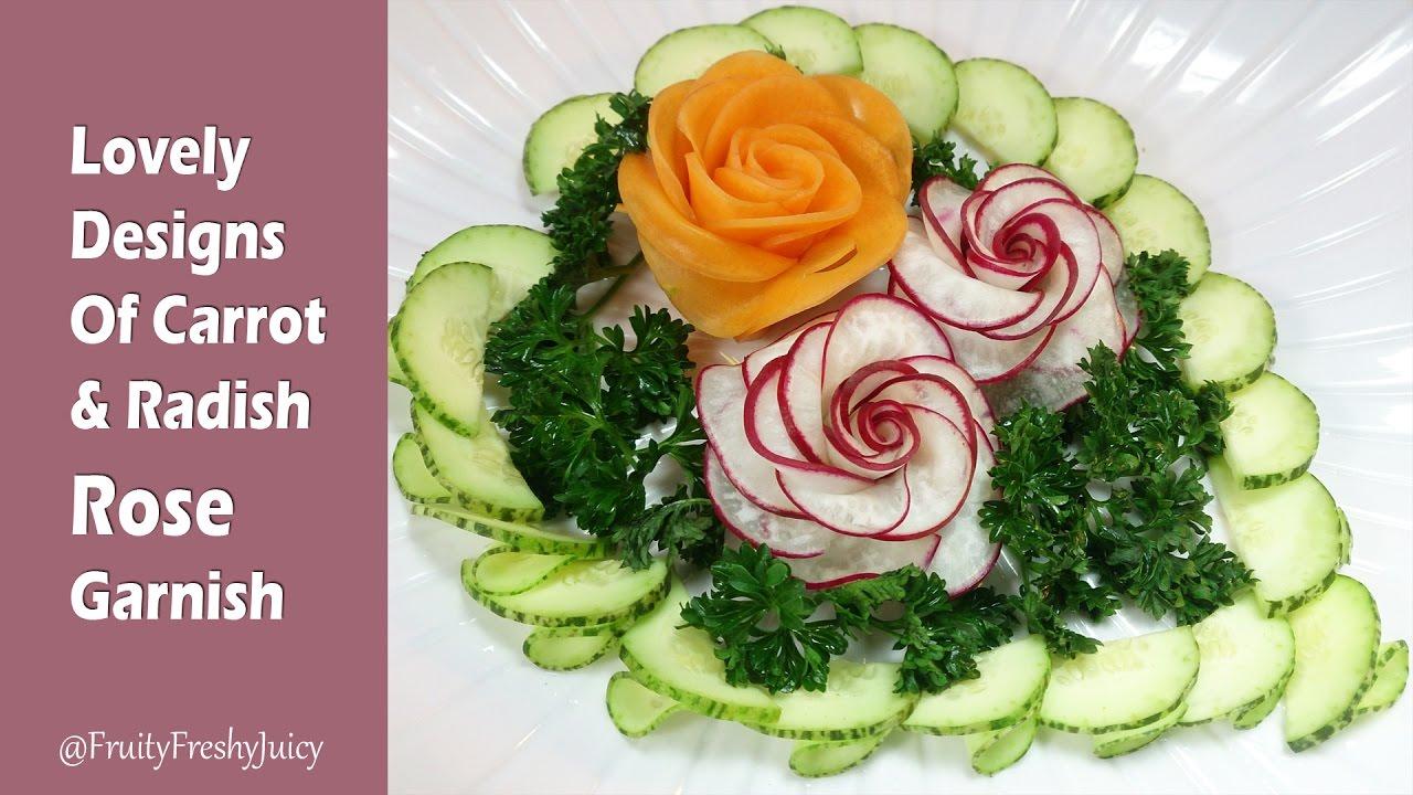 Lovely Designs Of Carrot & Red Radish Rose Flower Garnish