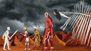 Warhammer Titan vs Eren Founding Titan, Colossal Titan, Armored Titan, Female - Drawing Cartoon 2
