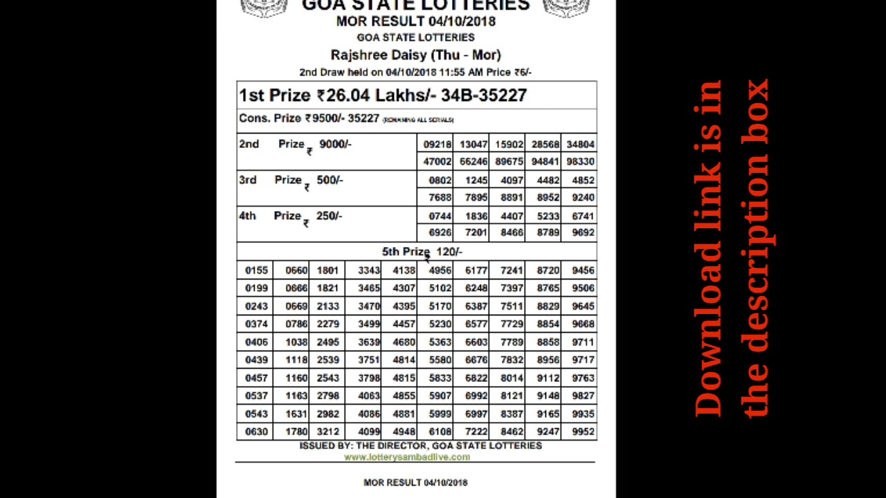 Rajshree lottery result morning 04/10/2018 goa state lottery