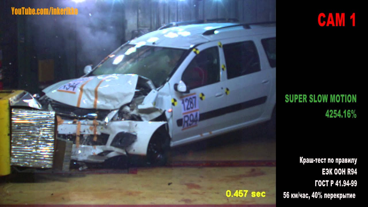 Краш-тест Лада Ларгус, 56 км/час Crash test Lada Largus
