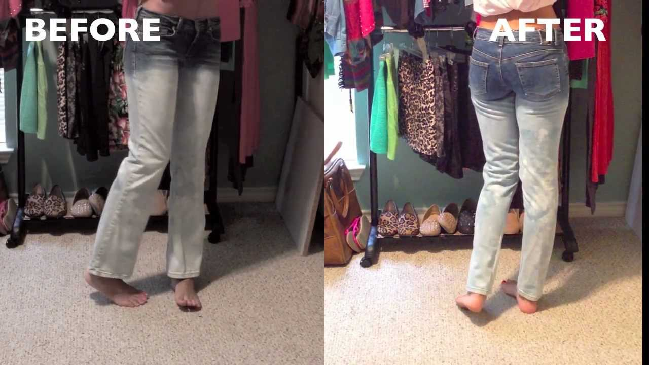 DIY| Turn Flare Leg Jeans into Skinny Jeans - YouTube
