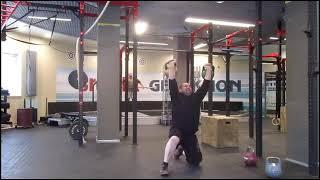 "Доношение вырыванием ""Гиря, пред тобой..."" 72кг. Muscle dead swing two hands anyhow on a knee-72kg"