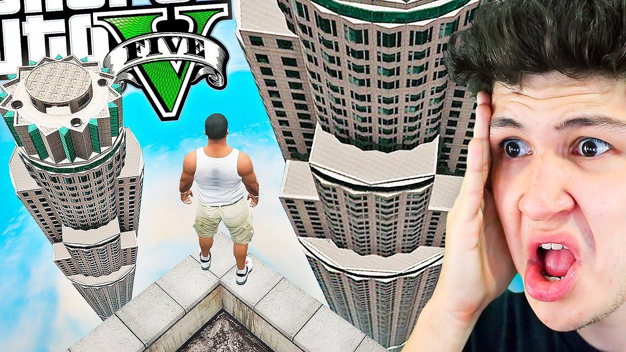 SALTANDO del EDIFICIO más ALTO de GTA 5! (Mods)