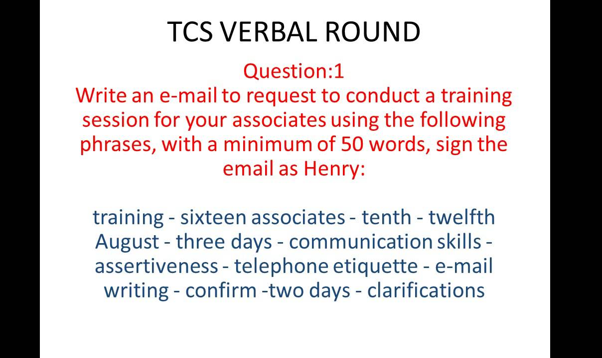 Tcs Email Writing Question And Answer 1