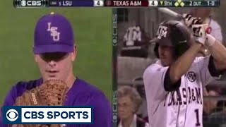 "LSU junior outfielder Jared Foster makes an amazing catch in left field in the bottom of the 9th against Texas A&M. ""Subscribe to """"CBS Sports"""" Channel HERE: ..."