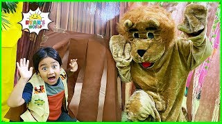 Ryan hunts for gems in giant box fort maze jungle edition!