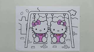 How to learn drawing and coloring hello kitty For kids