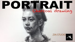Drawing portrait in charcoal.