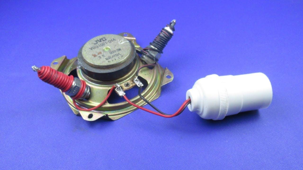 How to make Free energy 220V light bulb Using Speaker ...
