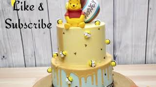 Adorable Poohbear 2 Tier Drip Cream Customized Cake by Cakeinspiration SG