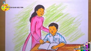 Vẽ cô và trò/How to draw Teacher and student