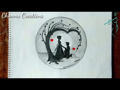 love-couple-pencil-sketch-in-moon-light...||-romentic-couple-pencil-sketch-under-tree...||