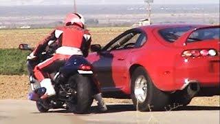 CARS vs BIKES!!(1000hp Supra,2000hp Lambo,GSXR,GTR,Hayabusa,r34,EVO,ZX10R,r1,Skyline,Honda Civic) thumbnail