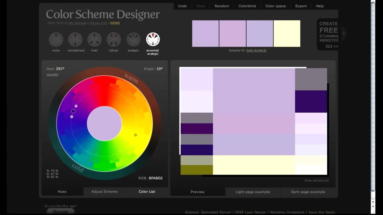 Color Scheme Designer web editing: color scheme designer