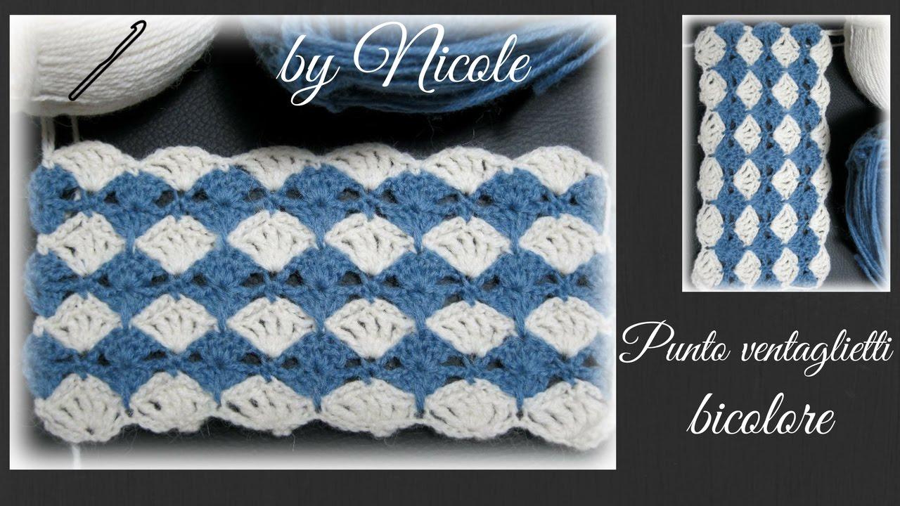 Uncinetto Punto Ventagli Bicolore Alluncinetto Crochet Stitches