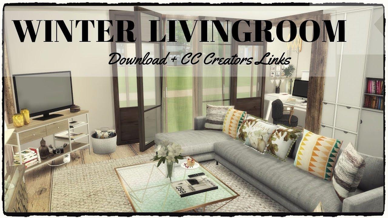 sims 4  winter livingroom download  cc creators links