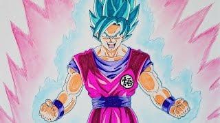 Cómo dibujar a Goku SSJ Dios Kaioken paso a paso