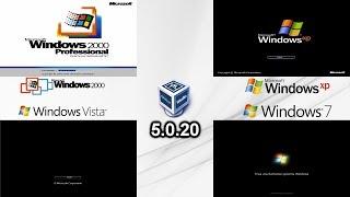 Windows 2000 vs XP vs Vista vs 7 Startup - VirtualBox 5.0.20